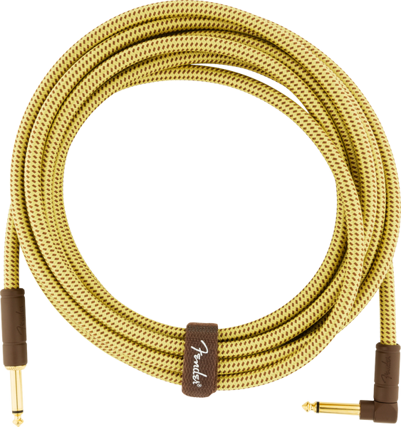 FENDER DELUXE INSTRUMENT CABLE 15FT - STRAIGHT TO RIGHT ANGLE TWEED