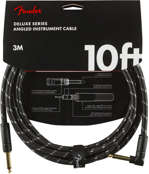 FENDER DELUXE INSTRUMENT CABLE 10FT - STRAIGHT TO RIGHT ANGLE BLACK TWEED