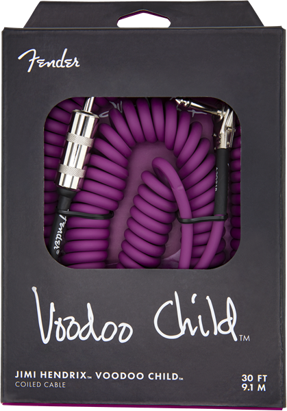 FENDER JIMI HENDRIX VOODOO CHILD COILED CABLE 30FT WHITE/PURPLE