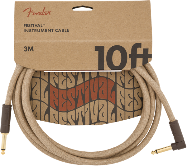 FENDER FESTIVAL HEMP INSTRUMENT CABLE - NATURAL 10ft