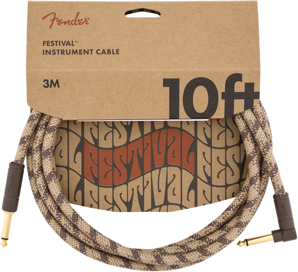 FENDER FESTIVAL HEMP INSTRUMENT CABLE - BROWN STRIPE 10ft