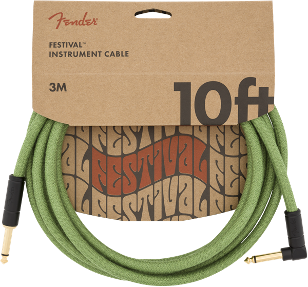 FENDER FESTIVAL HEMP INSTRUMENT CABLE - GREEN 10ft