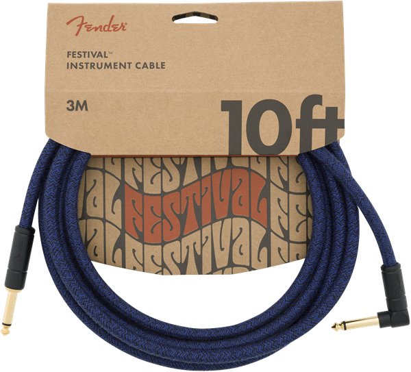 FENDER FESTIVAL HEMP INSTRUMENT CABLE - BLUE DREAM 10ft