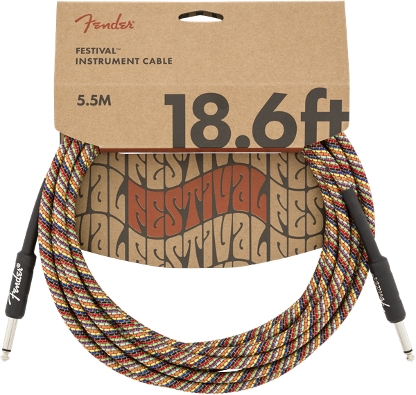 FENDER FESTIVAL HEMP INSTRUMENT CABLE - RAINBOW 18.6ft