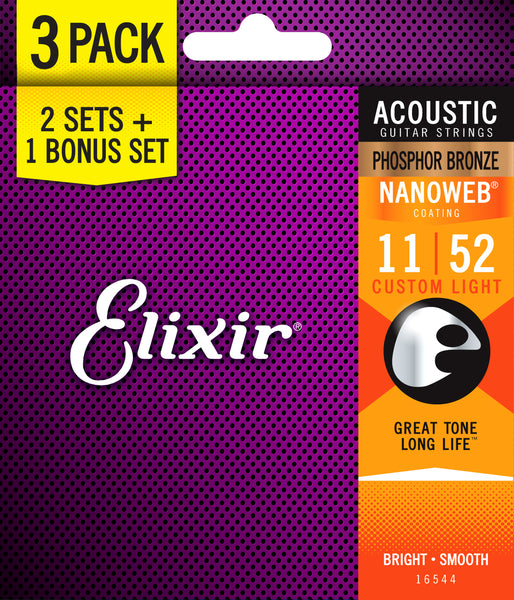 ELIXIR ACOUSTIC PHOSPHOR BRONZE w/NANOWEB COATING 11 - 52 CUSTOM LIGHT 3 PACK