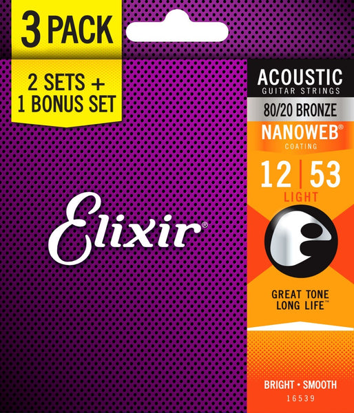 ELIXIR ACOUSTIC PHOSPHOR BRONZE - NANOWEB 12-53 80/20 BRONZE 3 PACK