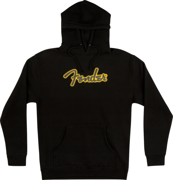 FENDER YELLOW STITCH LOGO HOODIE BLACK - SMALL/MEDIUM