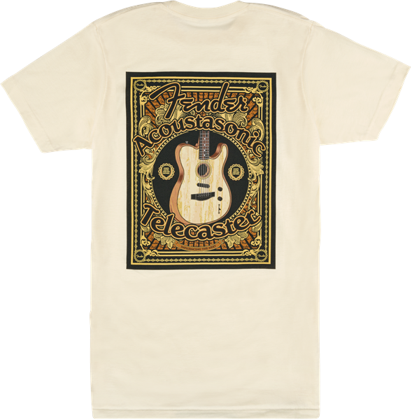 FENDER ACOUSTASONIC TELE T-SHIRT CREAM - S/M/L/XL