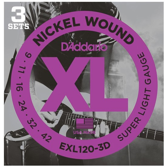 D'ADDARIO EXL120 3 PACK NICKEL WOUND 9-42 SUPER LIGHT