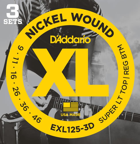 D'ADDARIO EXL125 3 PACK NICKEL WOUND 9-46 SUPER LT TOP REG BTM