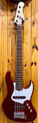 XOTIC XJ-1T 5-STRING JAZZ BASS - CANDY APPLE RED - ALDER #2166