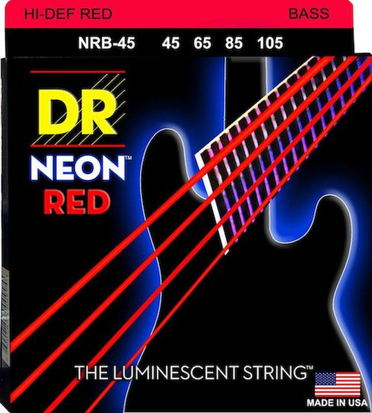 DR NEON BASS STRINGS - HI-DEF RED - 45-105