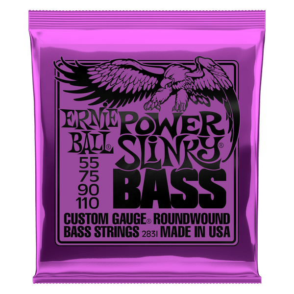 ERNIE BALL POWER SLINKY NICKEL WOUND ELECTRIC BASS STRINGS - 55-110 GAUGE