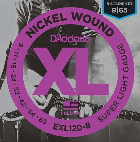 D'ADDARIO ELECTRIC NICKEL WOUND EXL120-8 - 9-65 8-STRING SUPER LIGHT