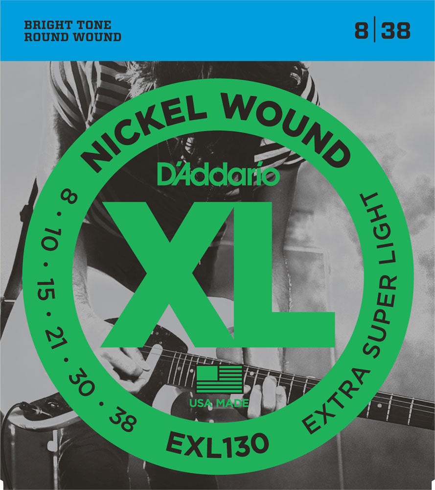 D'ADDARIO ELECTRIC XL NICKEL WOUND EXL130 - 8-38 X-SUPER LIGHT