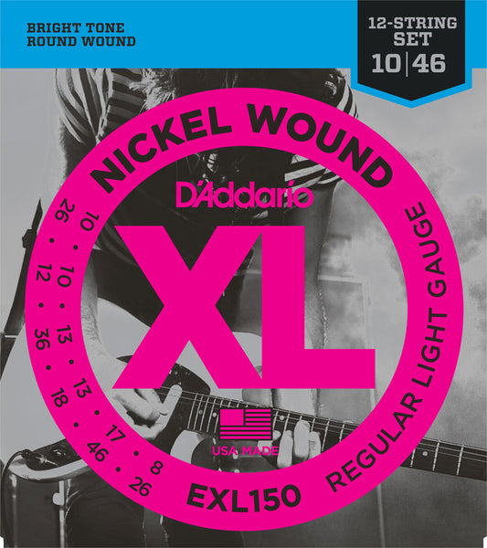 D'ADDARIO ELECTRIC NICKEL WOUND EXL150 - 10-46 12-STRING ELECTRIC