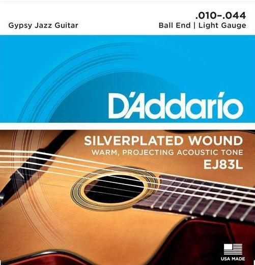 D'ADDARIO GYPSY JAZZ SILVERPLATED BALL END EJ83L - 10-44 LIGHT