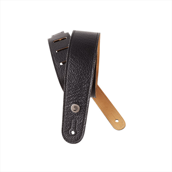 D'ADDARIO SLIM GARMENT LEATHER GUITAR STRAP - BLACK