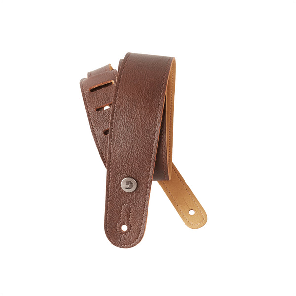 D'ADDARIO SLIM GARMENT LEATHER GUITAR STRAP - BROWN