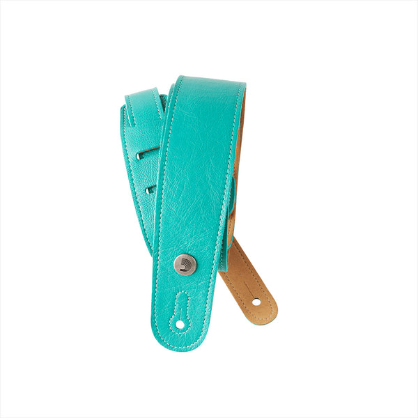 D'ADDARIO SLIM GARMENT LEATHER GUITAR STRAP - TEAL