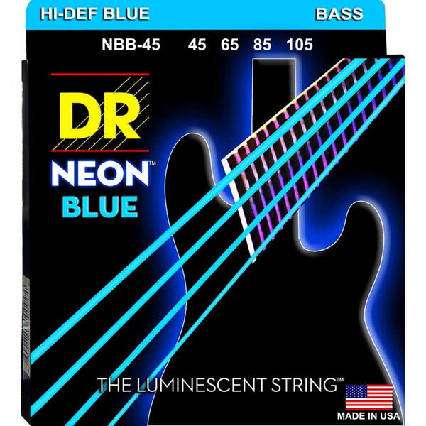 DR NEON BASS STRINGS - HI-DEF BLUE - 45-105