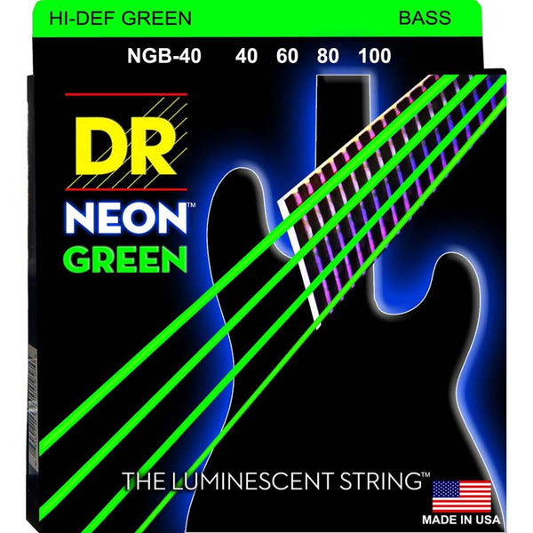 DR NEON BASS STRINGS - HI-DEF GREEN - 40-100