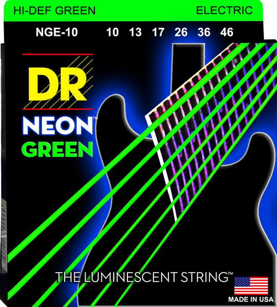 DR NEON ELECTRIC STRINGS - HI-DEF GREEN - 10-46