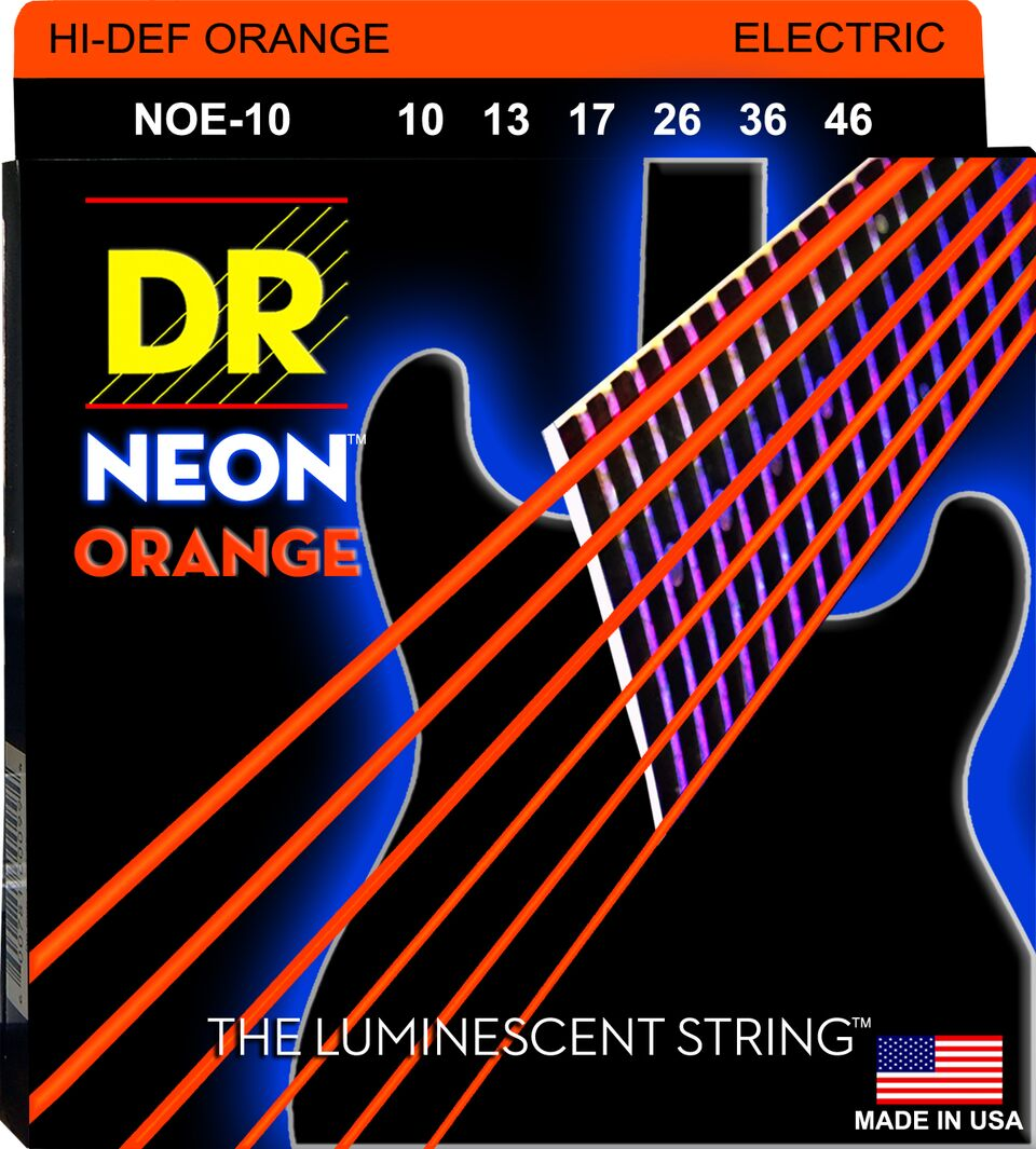 DR NEON ELECTRIC STRINGS - HI-DEF ORANGE - 10-46