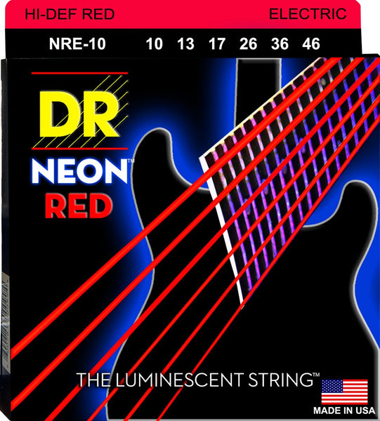 DR NEON ELECTRIC STRINGS - HI-DEF RED - 10-46