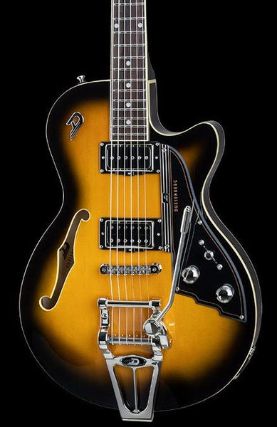 DUESENBERG STARPLAYER TV -  2-TONE-SUNBURST,  IN FORMFIT CUSTOM CASE
