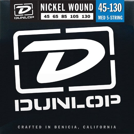 DUNLOP NICKEL WOUND BASS STRINGS - 5-STRING 45-130