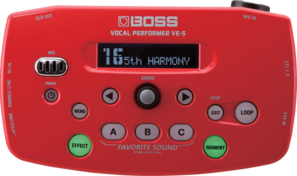 BOSS VE-5 VOCAL PERFORMER PROCESSOR  RED