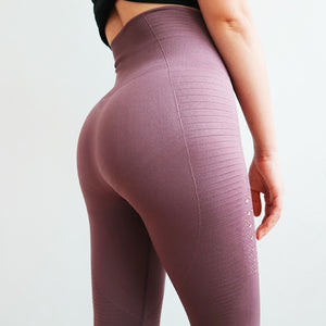 Oyoo Super Stretchy Gym Tights Energy Seamless Tummy Control Yoga Pants High Waist Sport Leggings Purple Running Pants Women