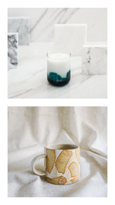 almiah candle + white brush mug gift set