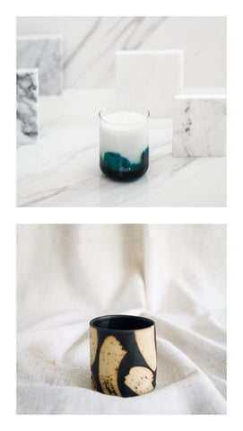 almiah candle + brush pot gift set