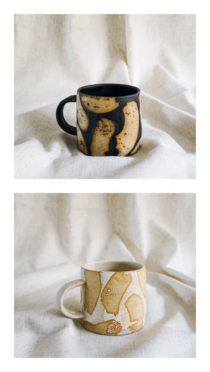 black + white brush mugs gift set
