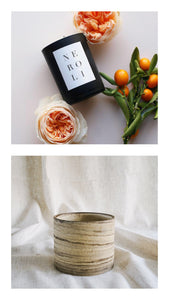 neroli candle + marble raw planter gift set
