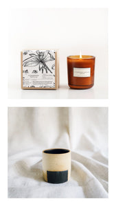 cedarwood vanilla candle + box planter gift set