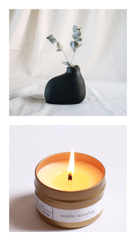 bulb vase + sunday morning candle gift set