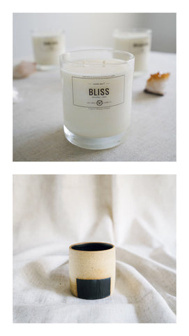 bliss candle + box pot gift set