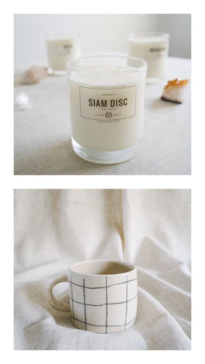 check mug + siam disc candle gift set