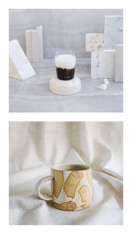 sweet amber candle + white brush mug gift set