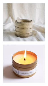 marble raw pot + sunday morning candle gift set