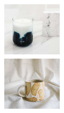 nutmeg jasmine cedar candle + white brush mug