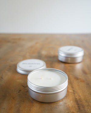 set of 3 gold + silver travel candles