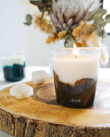 sweet amber candle + box planter gift set