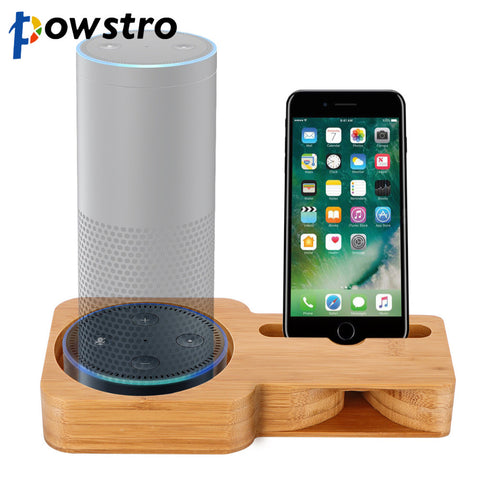 2 in 1 Phone Holder For Amazon Echo Bamboo Speaker Stand Powerless