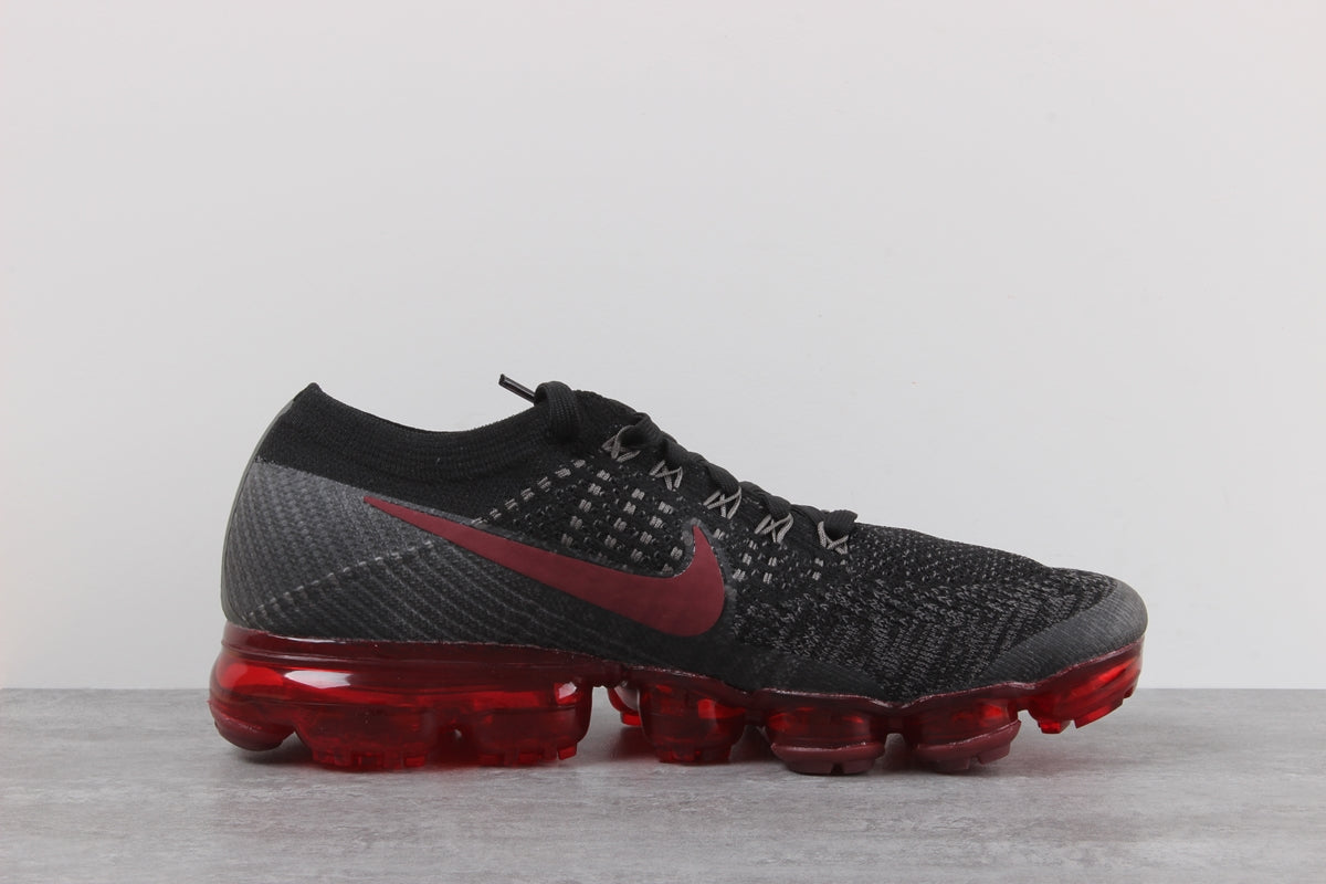 Nike Air VaporMax Flyknit Bred Shoes Men s Running Black Dark Red ... bed13ce85983