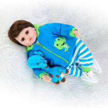 "18"" Soft Cloth Body Newborn Boy with Giraffe Toy"