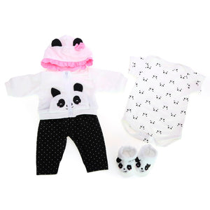 "18"" Baby Girl Doll with Cloth Cotton Body and Panda Toy"